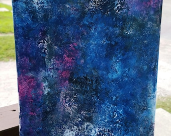 """Handmade 8x10 stretched canvas abstract """"finger painting"""""""