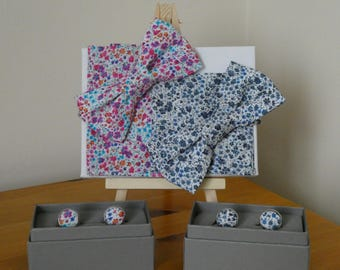 Liberty London fabric Bowtie, Pocket Squares and matching Cufflink sets