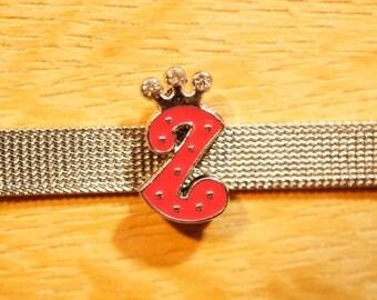 Pearl Crown width letter L fuchsia alphabet for bracelet