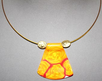 Fashion necklace with pendant polymer clay orange