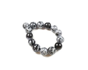 Snowflake Obsidian beads 10 natural 10mm LBP00042