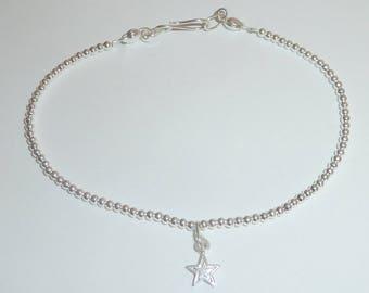 Sterling Silver Bracelet-Cham Bracelet-Minimalist Bracelet-Beaded Bracelet-Delicate Bracelet-Gift For Her-Birthday Present-Valentine