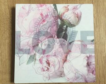 Love collage on metal printed 20x20cm