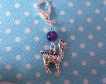 Alpaca progress keeper with amethyst bead - stitch marker - zipper pull - crochet - knitting -notions - gift for crocheter or knitter