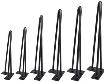 single hairpin leg matte black 3 rods diy industrial strength mid century modern table