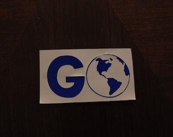 Vinyl Decal Sticker //GO with a globe //