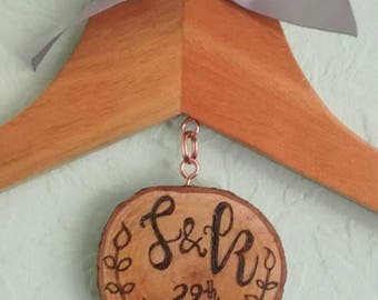 Personalised Wood Burnt Wedding Dress Hanger