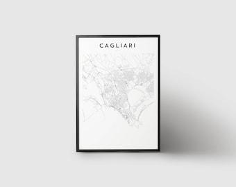 Cagliari Map Print
