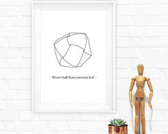 Hexagon Art, Minimal Geometric Print,minimalist art poster,weave ball print,Geometric print,Printables Geometric