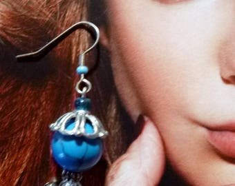 BOTS 04 earrings turquoise and rock crystal