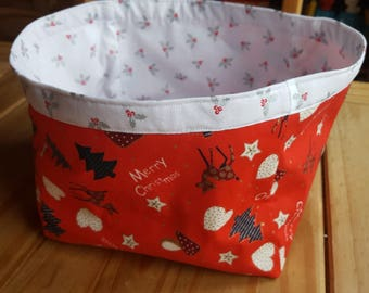Christmas fabric basket - heart