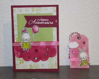 Pink/Green Bunny birthday card and matching gift tag