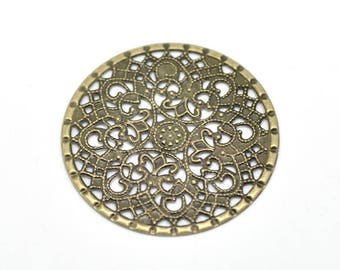 5 round connector filigree openwork Bronze 41x41mm Fleur