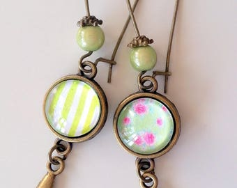 Big earrings bronze and green soft