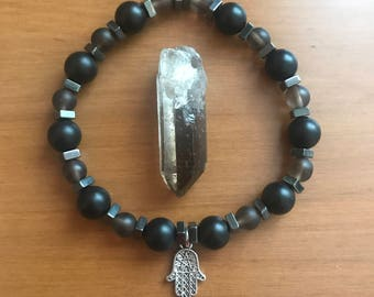 Protect Yo Self - Smoky Quartz w/ Pentagram Hamsa