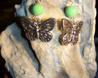 Earrings Butterfly & green glass beads