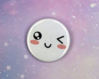 Kawaii Winking Face Pin/Button, Magnet, or Keychain