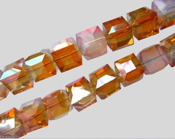 Square champagne faceted Swarovski Crystal Pearl 6 mm - 6 beads (74N)