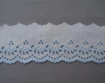 large blue eyelet lace.