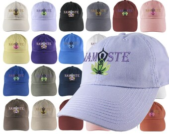Custom Yoga Pose Om Symbol Lotus Flower Namaste Embroidery on a 16 Color Selection Adjustable Unstructured Dad Hat Style Baseball Cap