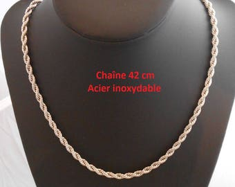 Necklace 42 cm silver color stainless steel chain