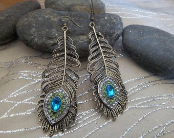 """Peacock feather"" earrings"