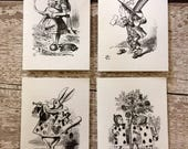 Alice in Wonderland Cards, Set of Four A7 Note Cards (Blank) with Kraft Envelopes