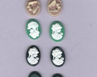 set of 10 women cameos Butterfly resin clay
