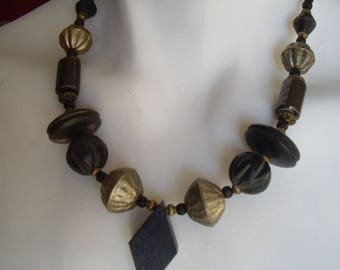 Ethnic necklace, Horn and antique silver