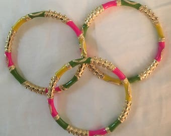 Green, fuschia, and yellow Middle Eastern flair bangle bracelet