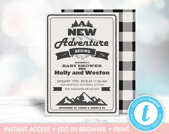 Adventure Awaits Plaid Baby Shower Invitation