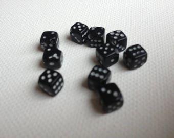 set of 10 beads Black Dice 0.5 cm