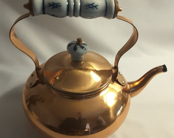 Vintage Copper Tea Kettle With Blue and White Porcelain Handle by Copper Vintage