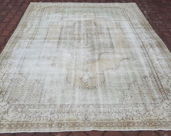 7'1x10'3 ft Turkish Handmade Rug, Hallway Rug,Area Rug,Vintage Rug, Beige Color,Anatolian Rug,Antique Rug