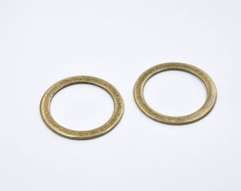 BR279 - Set of 2 large round charms metal color bronze