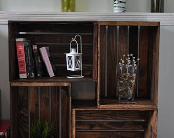 Wooden Crate Bookshelf (local pickup only, will NOT ship)