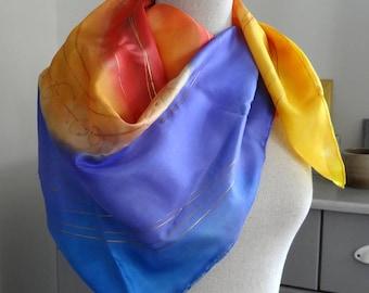 Purple orange yellow blue square silk scarf