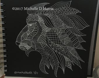 Original Drawing - Zentangle LION mandala drawing, Lion art, Lion Zen Art, Lion doodle,  White drawing on Black Card - Square 8x8Inches