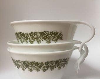Corelle Green Spring Blossom/ Crazy Daisy Teacups