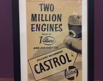Vintage Motorcycle Castrol Oil Advertising Artwork