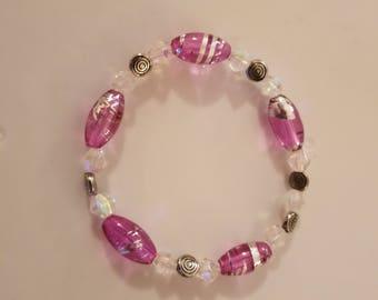 Purple and Silver Stretch Bracelet