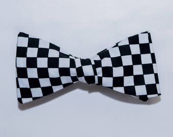 Black & White Checkered Self-tie Bow Tie