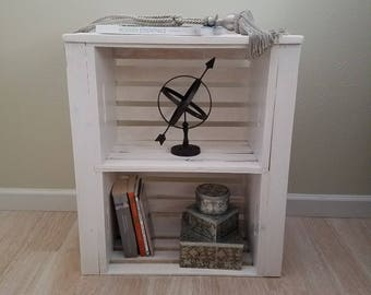 Wood crate nightstand