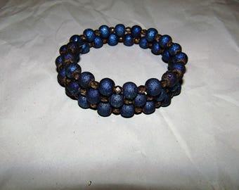 Blue AB Glass & Copper Czech Glass Memory Wire Bracelet