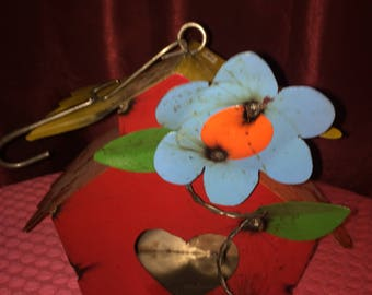 Recycled Metal Birdhouse Home / Flower Design