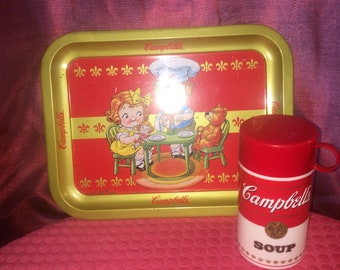 Campbell Soup Tray and Thermos Vintage