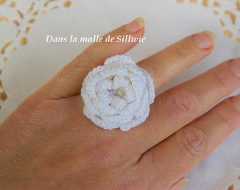 White crochet flower ring Swarovski Crystal beads