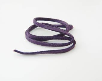 (L459) 37cm purple suede cord