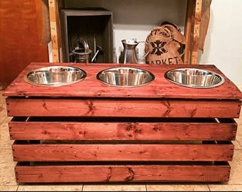 SALE! Extra large elevated dog feeder with three 5 quart stainless steel bowls.