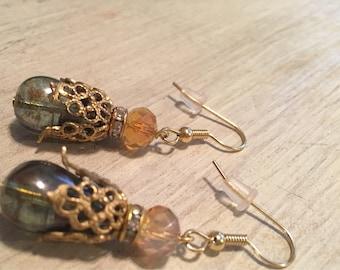 Vintage Green & Gold Earrings